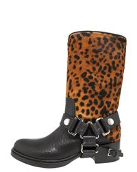 Miu Miu   Black Leopard Print Calf Hair Motorcycle Boots   Lyst