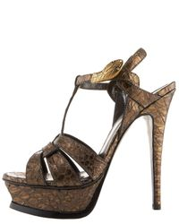 Saint Laurent | Metallic Tribute Python Snake-ornament Sandal | Lyst