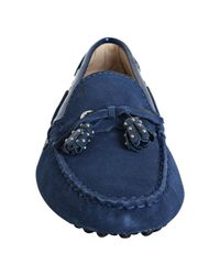 Tod's - Cobalt Blue Suede Haven Nappine Studded Tassel Loafers - Lyst