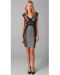 Rebecca Taylor - Gray Band-pattern Flannel Dress - Lyst