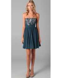 Rebecca Taylor | Blue Beaded Strapless Dress | Lyst