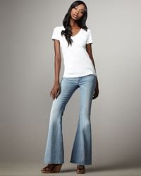 7 For All Mankind | Blue Bell-bottom Silver Strand Super Light Jeans | Lyst