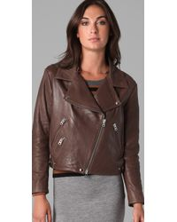 Acne | Rite Moto Jacket in Brown | Lyst