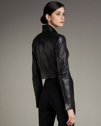 Akris - Black Open-front Cropped Leather Jacket - Lyst