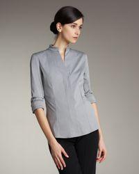 Akris | Mandarin-collar Poplin Blouse, Felt Gray | Lyst