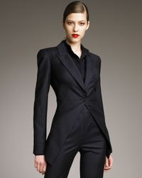 Alexander McQueen | Blue Pinstripe Pleated Back Jacket | Lyst