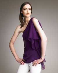 Alice + Olivia | Purple Lana One-shoulder Ruffle Top | Lyst