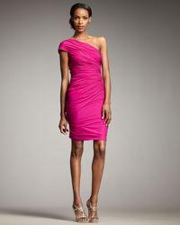 Badgley Mischka | Pink One-shoulder Ruched Cocktail Dress | Lyst