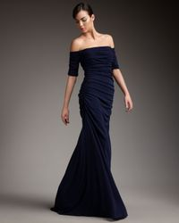 Badgley Mischka | Blue Off-the-shoulder Ruched Gown | Lyst