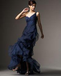 Badgley Mischka - Blue One-shoulder Organza Ruffle Gown - Lyst