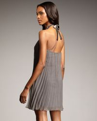 Maria Bianca Nero - Gray Bib-neck Pleated Dress - Lyst