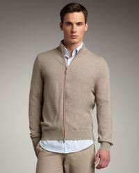 Brunello Cucinelli | Natural Cashmere Zip Sweater, Oatmeal for Men | Lyst
