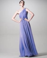 David Meister | Purple Chiffon Jeweled-shoulder Gown | Lyst