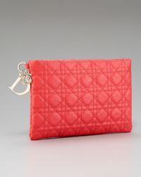 Dior | Red Flat Cannage Pouch, Medium | Lyst