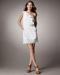 DKNY | White Cotton Ruffled Eyelet One-shoulder Dress | Lyst