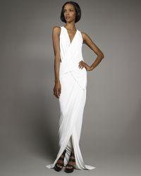 Donna Karan | White Superfine Jersey Draped Gown | Lyst