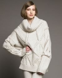 Donna Karan | Natural Chunky Cable Sweater | Lyst