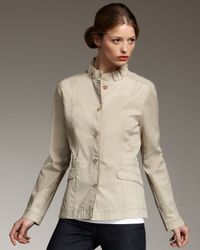 Eileen Fisher | Natural Stretch Cotton Ruffle-collar Jacket | Lyst