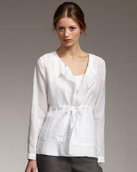 Eileen Fisher | White Linen Drawstring Jacket | Lyst