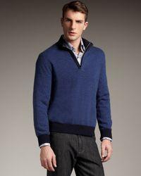 Ermenegildo Zegna - Leather-trim Cashmere Sweater, Blue for Men - Lyst