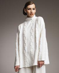 Eskandar | White Moss Mock-neck Cable-knit Cashmere Sweater | Lyst