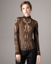 Etro | Black Paisley Jersey Top | Lyst