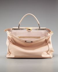 Fendi | Natural Peekaboo Leather Tote | Lyst