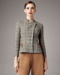 Giorgio Armani | Brown Windowpane Tweed Jacket | Lyst