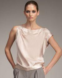 Giorgio Armani | Natural Asymmetric Silk Blouse | Lyst