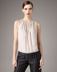Giorgio Armani | Natural Plisse-detail Silk Blouse | Lyst