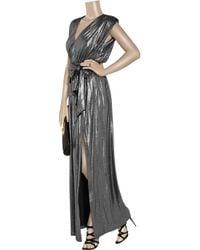 Halston - Metallic Belted Lamé Maxi Dress - Lyst