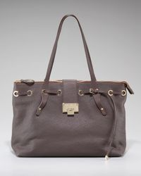 Jimmy Choo | Brown Rhea Pebble Leather Tote | Lyst