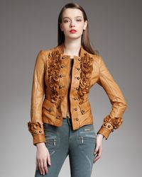 Just Cavalli | Brown Ruffle Military Jacket | Lyst