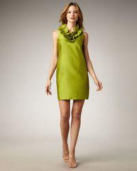 kate spade new york | Green Lucille Ruffled-neck Shift Dress | Lyst