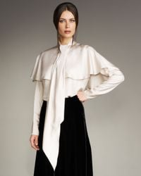 Lanvin - Natural Silk Twill Bow Blouse - Lyst