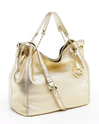 MICHAEL Michael Kors | Metallic Jet Set Large Tote, Pale Gold | Lyst