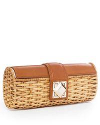 MICHAEL Michael Kors | Brown Id Straw Clutch, Luggage | Lyst