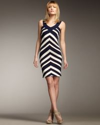 MILLY | Blue Chevron-stripe Dress | Lyst