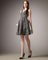 Nanette Lepore | Black County Fair Printed V-neck Dress | Lyst