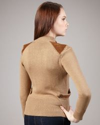 Nanette Lepore   Natural Puccini Suede-panel Cardigan   Lyst
