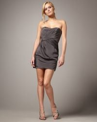 Nicole Miller | Gray Strapless Grecian Dress | Lyst