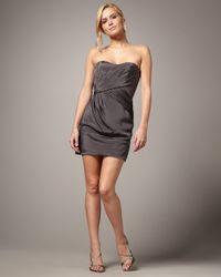 Nicole Miller - Gray Strapless Grecian Dress - Lyst