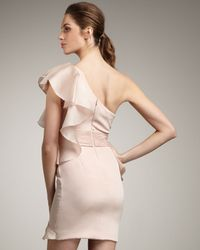 Notte by Marchesa - Pink One-shoulder Cascading Ruffle Dress - Lyst