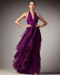 Notte by Marchesa - Purple Cascading Halter Gown - Lyst