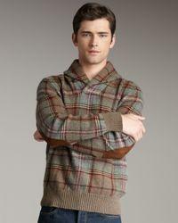Polo Ralph Lauren | Green Plaid Shawl-collar Sweater for Men | Lyst