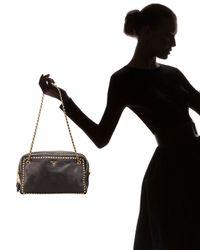 Prada - Black Glace Calf Coated Calfskin Chain Bag - Lyst