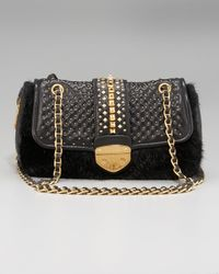 Prada - Black Napa Borchie Studded Lambskin Chain Bag - Lyst