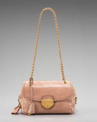 Prada | Pink Glace Calf Push-lock Chain Shoulder Bag, Cammeo | Lyst