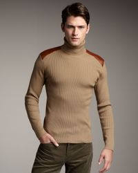 Ralph Lauren Black Label | Natural Leather-trim Turtleneck Sweater for Men | Lyst