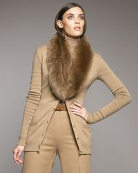 Ralph Lauren Collection | Natural Shearling-collar Cardigan | Lyst